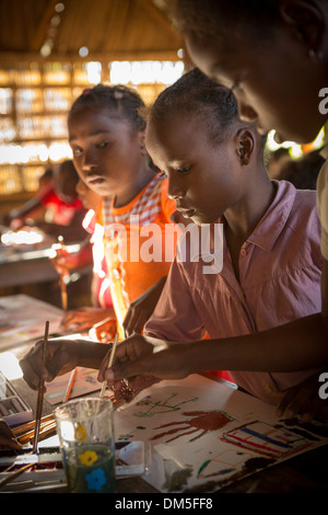 Children in art class in Vatomandry District, Madagascar. - Stock Photo