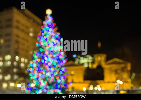Christmas Holiday Tree with Festive Colorful Out of Focus Bokeh Lights  in Pioneer Courthouse Square