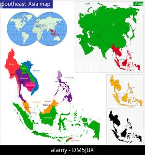 Southeastern Asia map - Stock Photo