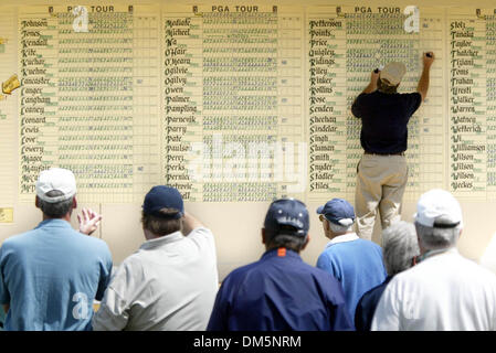 Mar 10, 2005; Palm Beach Gardens, FL, USA; Spectators watch the scoreboard being updated at the Honda Classic at - Stock Photo