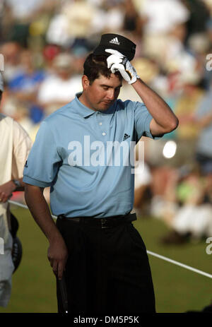 Mar 13, 2005; Palm Beach Gardens, FL, USA; PAT PEREZ reacts with disappointment after making a chip shot on 18 at - Stock Photo