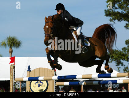 Mar 13, 2005; Palm Beach, FL, USA;  Little Big Man makes a jump with rider LAURA CHAPOT and during the tie breaker - Stock Photo