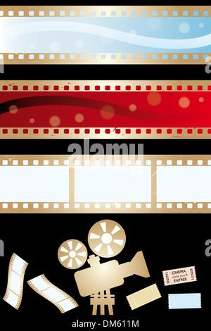 Movie banners and paraphernalia isolated on black - illustration - Stock Photo