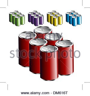 Six Pack Cans - Stock Photo