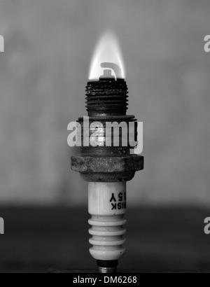 Burning sparkling plug - Stock Photo