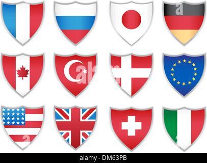 Flag Shields - Stock Photo