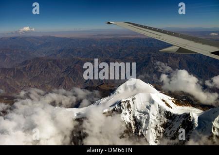 Illimani Glacier, 6,439 m, view from an aircraft, Departamento La Paz, Bolivia - Stock Photo