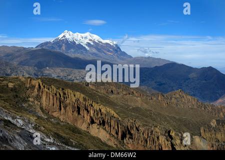 Palca Canyon and the Illimani Glacier, 6439 m, near La Paz, Departamento La Paz, Bolivia - Stock Photo