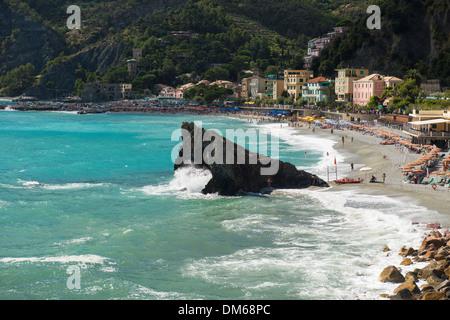 Beach, Monterosso al Mare, Cinque Terre, La Spezia Province, Liguria, Italy - Stock Photo