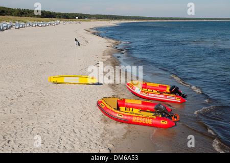 Baltic Sea, beach and lifeboats of the German Life Saving Society, Prerow, Mecklenburg-Vorpommern, Germany - Stock Photo