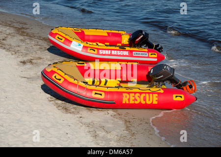 Baltic Sea, beach and lifeboats of the German Life Saving Society, Prerow, Mecklenburg-Vorpommern, Germanyy - Stock Photo