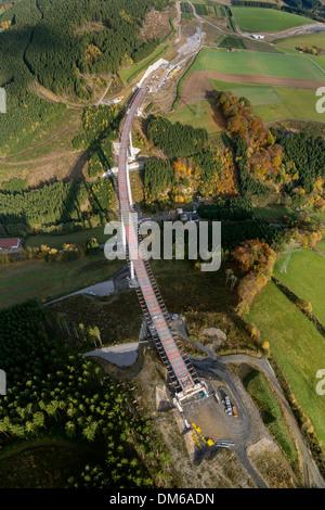 Talbrücke Nuttlar bridge, under construction, tallest bridge in North Rhine-Westphalia, Sauerland area, North Rhine - Stock Photo
