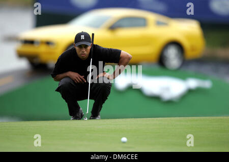 Mar 03, 2005; Miami, FL, USA; TIGER WOODS lines up a putt for par on the 18th hole. Woods finished at 7 under par. - Stock Photo