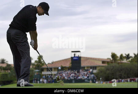 Mar 03, 2005; Miami, FL, USA; TIGER WOODS tees off on the ninth hole of the Championship at Doral, during the first - Stock Photo