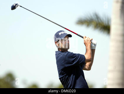 Mar 10, 2005; Palm Beach, FL, USA;  GLEN HNATIUK tees off on the front nine Thursday at The Honda Classic at Mirasol - Stock Photo