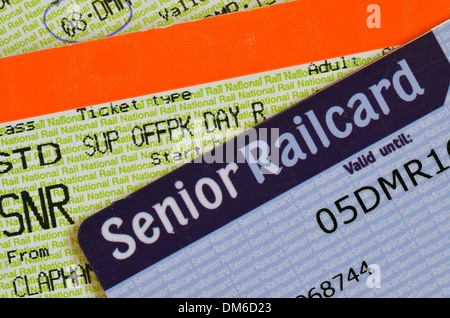 UK Senior Railcard with ticket printed with SNR to indicate that the holder must have a Senior Railcard to validate - Stock Photo