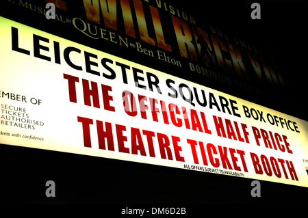 London, England, UK. Leicester Square Box Office - half price theatre tickets - Stock Photo