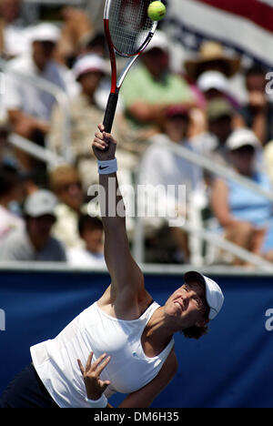 Apr 23, 2005; Delray Beach, FL, USA; LINDSAY DAVENPORT erves against Eveline Vanhyfte during their match at the - Stock Photo