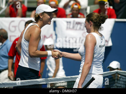Apr 23, 2005; Delray Beach, FL, USA; LINDSAY DAVENPORT shakes hands with EVELINE VANHYFTE after their match at the - Stock Photo