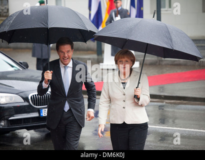 angela merkel meets the dutch prime minister Mark Rutte in Kleve, germany - Stock Photo