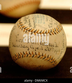 Jun 03, 2005; New York, NY, USA; The first baseball pitched at the 1912 Grand Opening of Fenway Park is estimated - Stock Photo