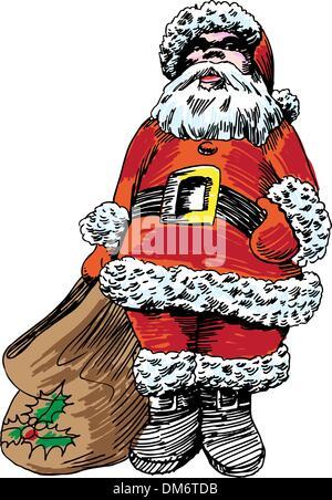 Hand Drawn Santa - Stock Photo