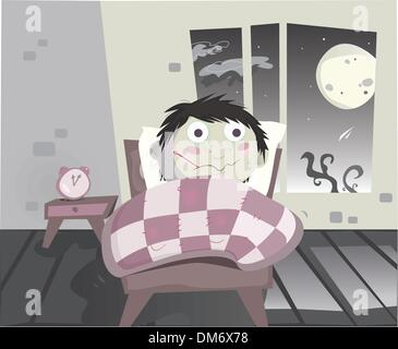 Sick boy lying in bed vector stock vector art illustration vector vector illustration ill boy with thermometer lying in the bed stock photo altavistaventures Images