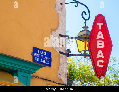 Tabac sign on picturesque street corner in Annecy old town, Annecy, Savoie, France - Stock Photo