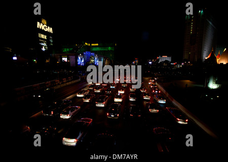 Night view of traffic in Las Vegas, Nevada, NV, United States of America, USA, US - Stock Photo