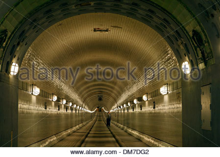 Alter Elbtunnel, tunnel, pipe, port of Hamburg, Germany, Europe - Stock Photo
