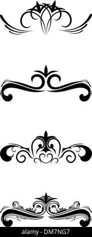 Swirl elements and monograms - Stock Photo