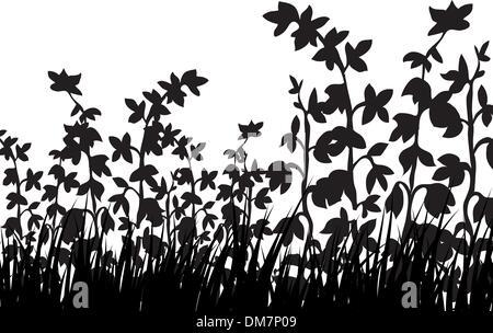 grass silhouettes - Stock Photo