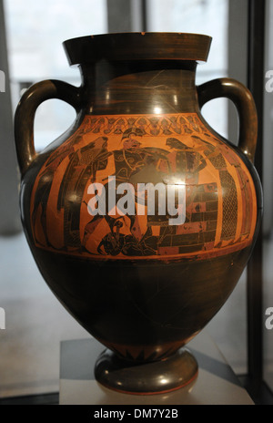 Attic amphora depicting scenes of Trojan War. Neoptolemus kill Priam and Achilles pursuing Troilus and Polyxena. - Stock Photo
