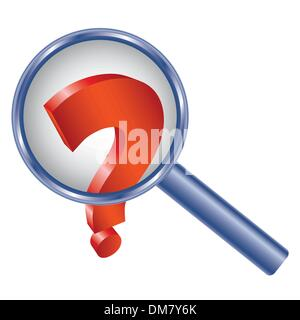 Question mark under magnifier glass - Stock Photo