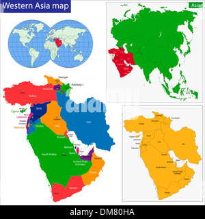 Western Asia map - Stock Photo