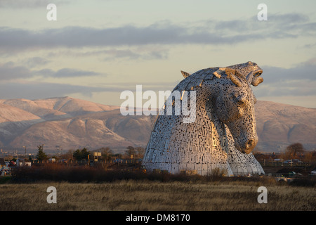 The Kelpies sculpture of two horses at The Helix Park in Falkirk Scotland - Stock Photo