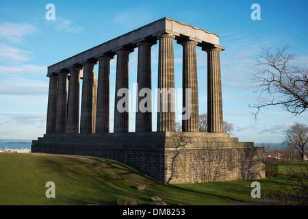 The National Monument of Scotland on Calton Hill Edinburgh - Stock Photo