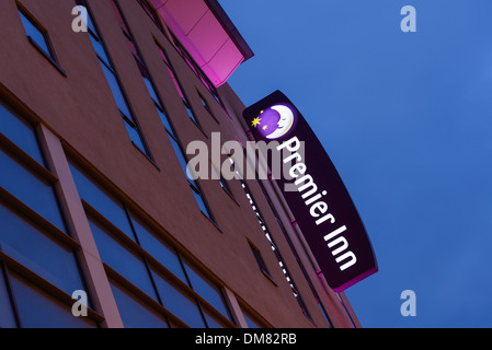 Premier Inn hotel chain sign - Stock Photo