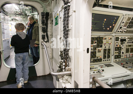 TOURING THE INSIDE OF THE REDOUTABLE, THE FIRST FRENCH NUCLEAR BALLISTIC MISSILE SUBMARINE LAUNCHED ON MARCH 29, - Stock Photo