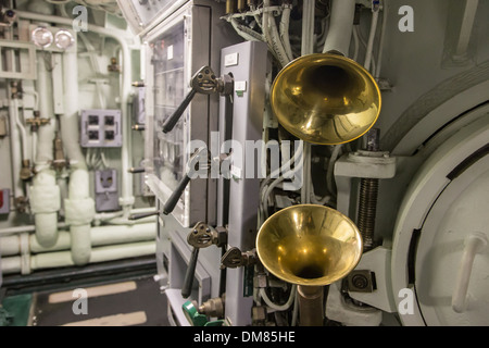 BRASS BULLHORN INSIDE THE REDOUTABLE, THE FIRST FRENCH NUCLEAR BALLISTIC MISSILE SUBMARINE LAUNCHED ON MARCH 29, - Stock Photo