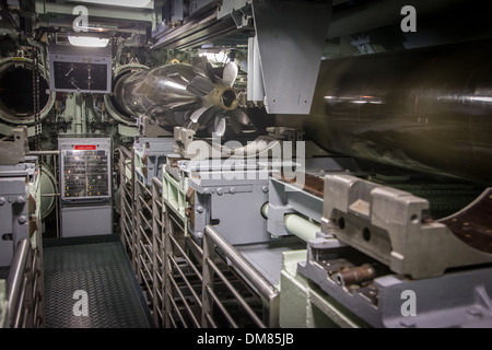 STORAGE OF THE TORPEDOES, TOUR OF THE REDOUTABLE, THE FIRST FRENCH NUCLEAR BALLISTIC MISSILE SUBMARINE LAUNCHED - Stock Photo