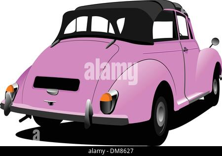 Pink vintage  car cabriolet on the road. Vector illustration - Stock Photo