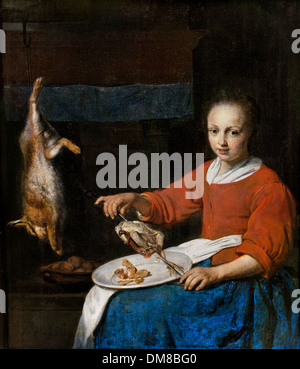 The chef - cook Gabriel METSU 1629 - 1667 Dutch Netherlands - Stock Photo