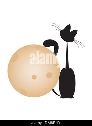 cat and  moon - Stock Photo