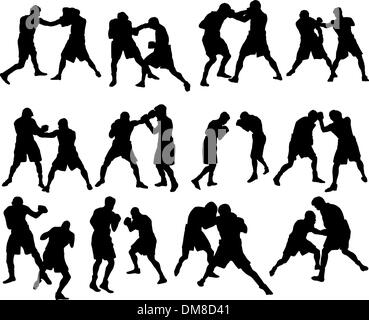 boxing silhouette set - Stock Photo
