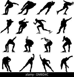 skating man silhouette set - Stock Photo