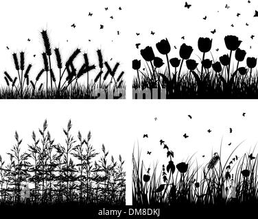 set of grass silhouettes - Stock Photo