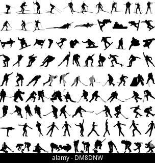 Set of winter sport silhouettes - Stock Photo