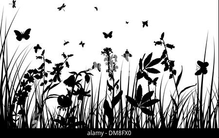 meadow silhouettes - Stock Photo