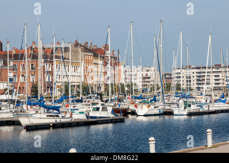 Harbour with boats at Dunkirk, Dunkirque, France - Stock Photo